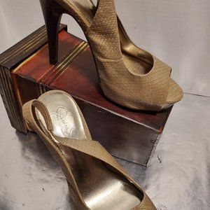 Jessica Simpson Tan Snakeskin Slingback Heels